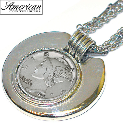 'Mercury Dime Silvertone Triple Chain Pendant'