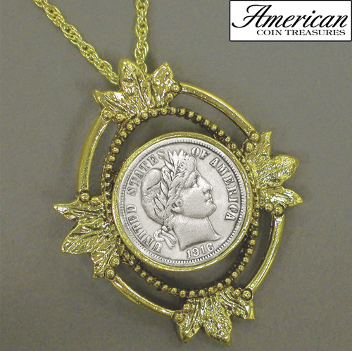 'Goldtone Open Oval Leaf Silver Barber Dime Coin Pendant'