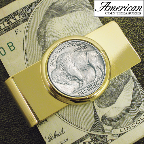 'Goldtone Buffalo Nickel Coin Money Clip'