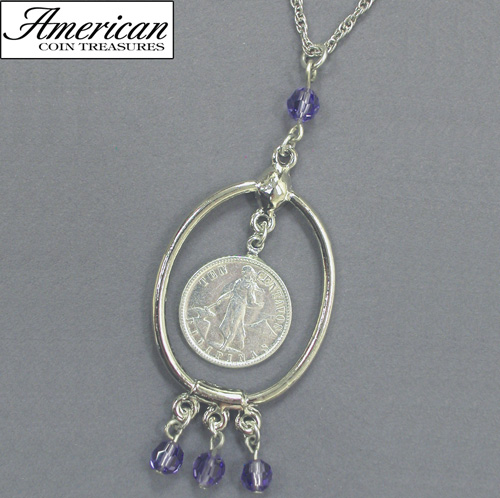 10 Centavo Philippine Coin Silvertone Necklace