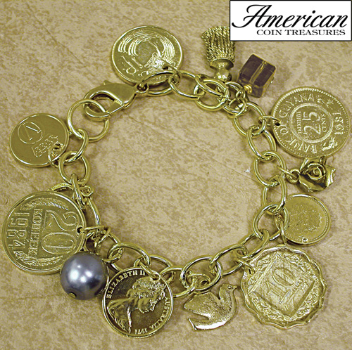 'Gold-Layered Foreign Coins Charm Bracelet'