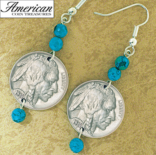 'Buffalo Nickel Turquoise Coin Earrings'