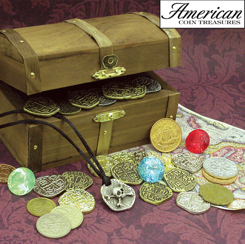 'Kid's Treasure Chest with Replica Pirate Coins/Foreign Coins/Gems/Necklace'