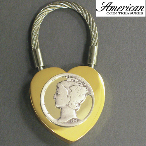 'Cut-Out Silver Mercury Dime Two-Tone Heart Coin Keychain'