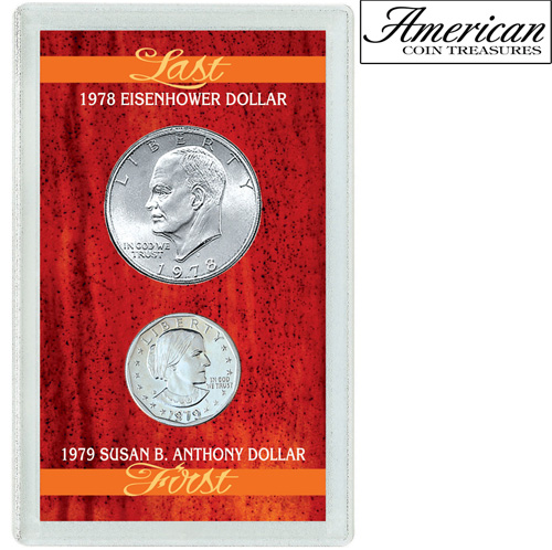 'Last Eisenhower Dollar & First Susan B. Anthony Dollar'