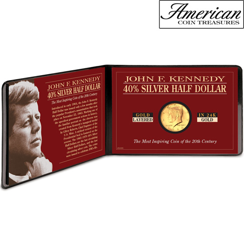 'Silver JFK Half Dollar Coin Layered in Pure Gold'
