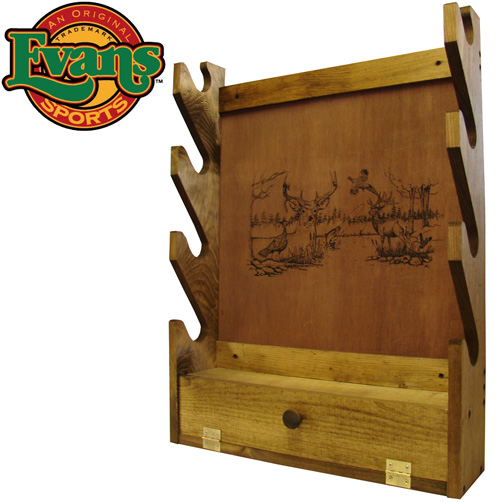 'Wooden 4-Gun Rack with Storage Compartment'