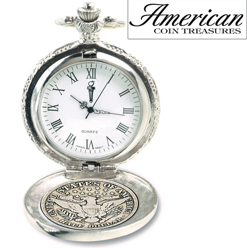 'Silver Barber Half Dollar Pocket Watch'