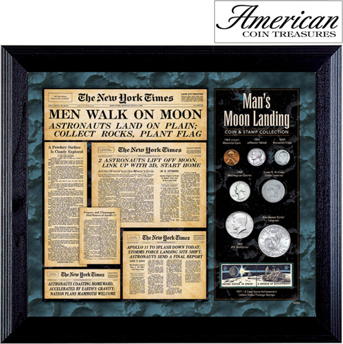 'New York Times Man Lands on the Moon Coin... Stamp Collection'