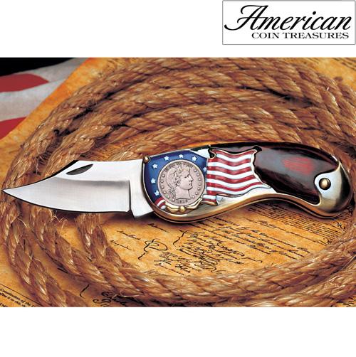 'Silver Barber Quarter Pocket Knife'