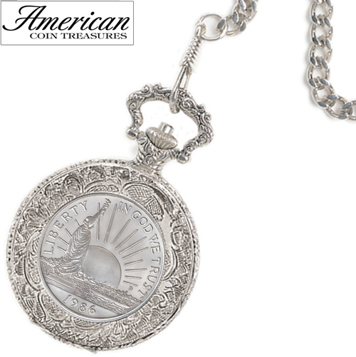 'Statue of Liberty Commemorative Coin Pocket Watch'