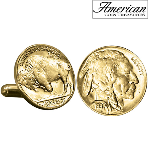 'Gold-Layered Buffalo Nickel Cufflinks'