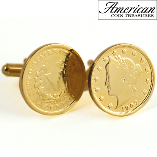 'Gold-Layered Liberty Nickel Cufflinks'