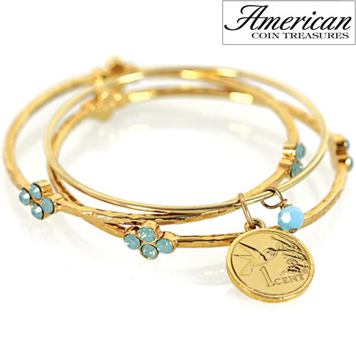 'Hummingbird Coin Bangle Bracelet Set'