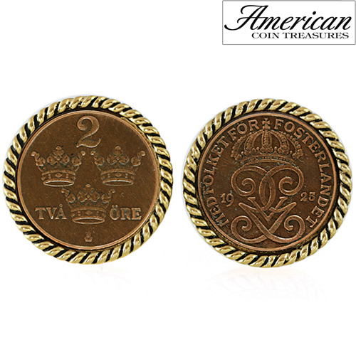 'Swedish Coin ORE Crown Cufflinks'