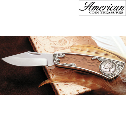 'Jefferson Wartime Silver Nickel Pocket Knife'
