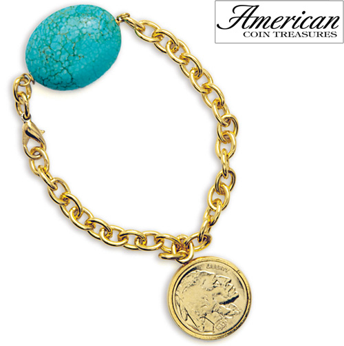 'Gold-Layered Buffalo Nickel Bracelet with Turquoise Stone'