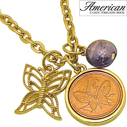 'Goldtone Butterfly Coin and Charm Pendant'