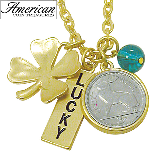 'Goldtone Rabbit Coin and Lucky Tag Pendant'