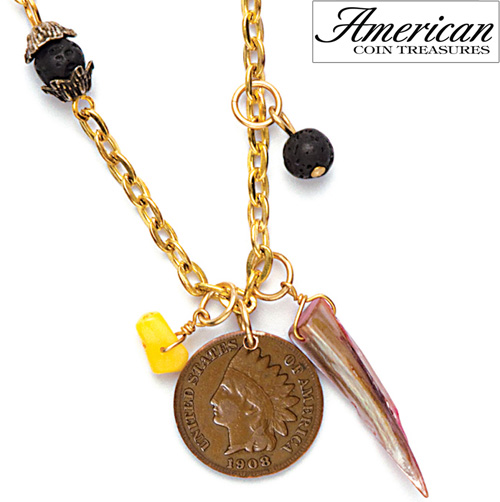 'Dome Indian Head Cent and Natural Stone Pendant'
