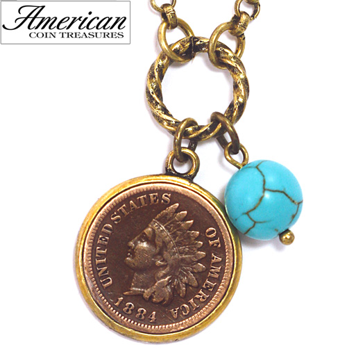 'Indian Head Cent with Genuine Turquoise Bead Coppertone Pendant'