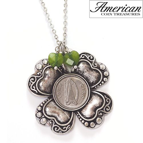 'Irish Threepence Four Leaf Clover and Green Heart Charm Pendant'