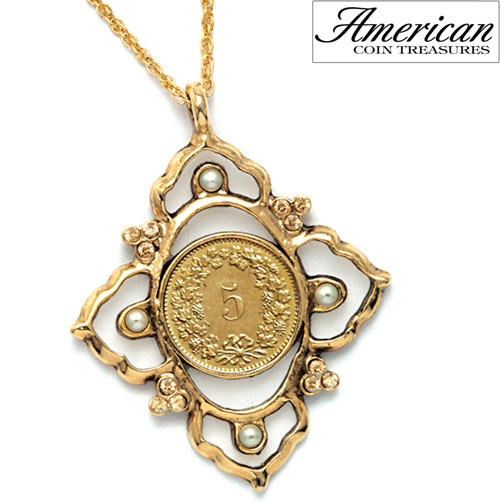 'Victorian Inspired Swiss Coin Pendant with Glass Pearls'