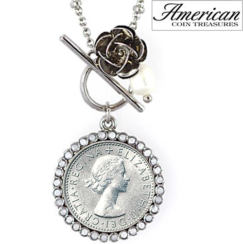 'Lucky British Sixpence and Rose Toggle Pendant'