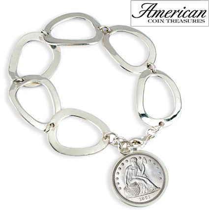 'Civil War Seated Liberty Sterling Silver Oval Link Bracelet'