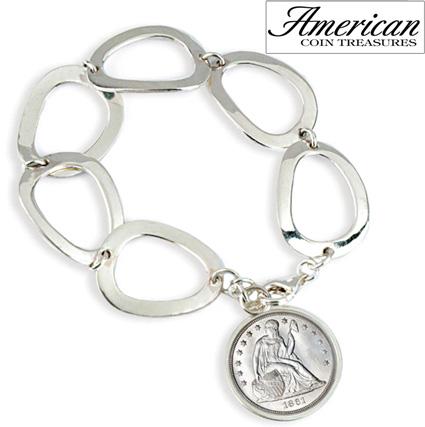 Civil War Seated Liberty Sterling Silver Oval Link Bracelet