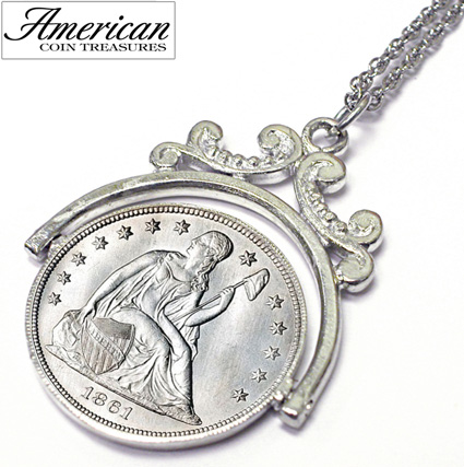 'Civil War Silver Seated Liberty Coin Spinner Pendant'