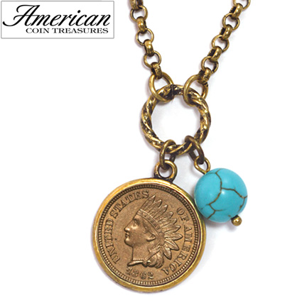 'Civil War Indian Head Coin with Turquoise Bead'