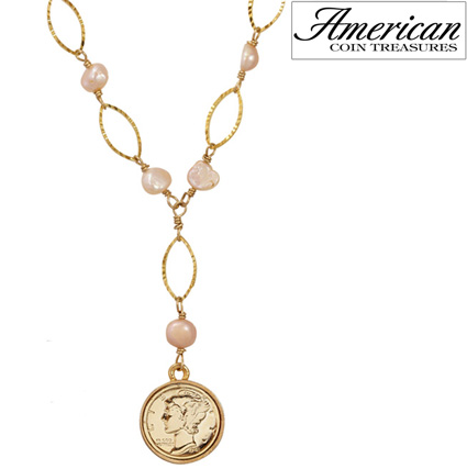 'Gold Layered Silver Mercury Dime Pearl Necklace'