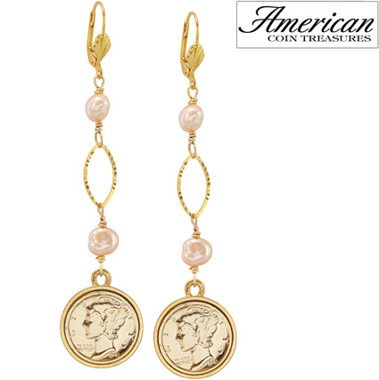 'Gold Layered Silver Mercury Dime Pearl Earrings'