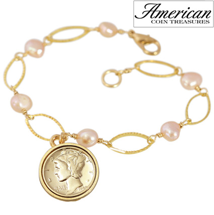 'Gold Layered Silver Mercury Dime Pearl Bracelet'