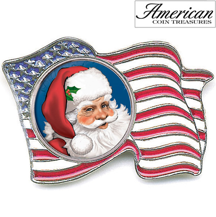 'Santa Colorized Quarter Flag Pin'