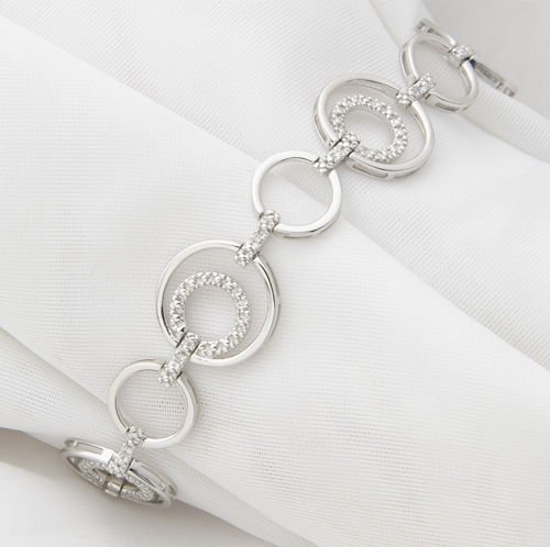'Sterling Silver and Diamond Bracelet'