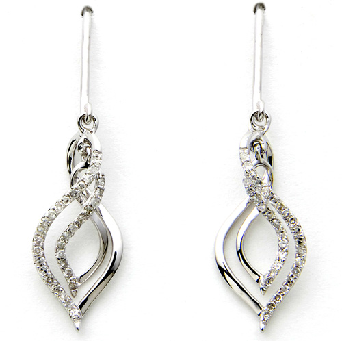 'White Gold Diamond Dangle Earrings'