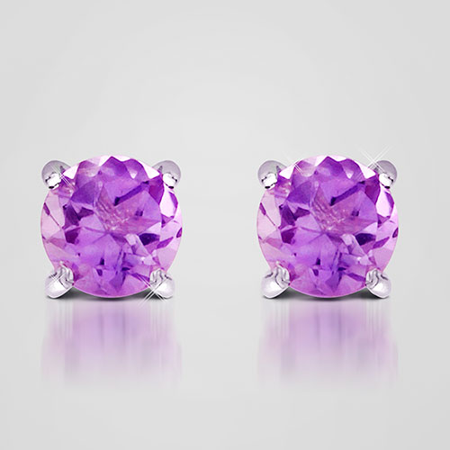 'Purple Amethyst Stud Earrings'