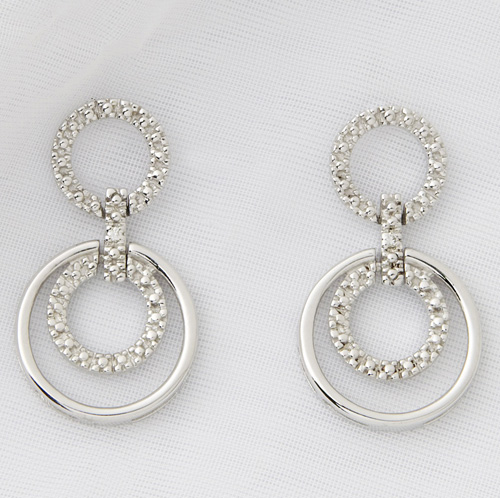 'Sterling Silver and Diamond Geometric Earrings'