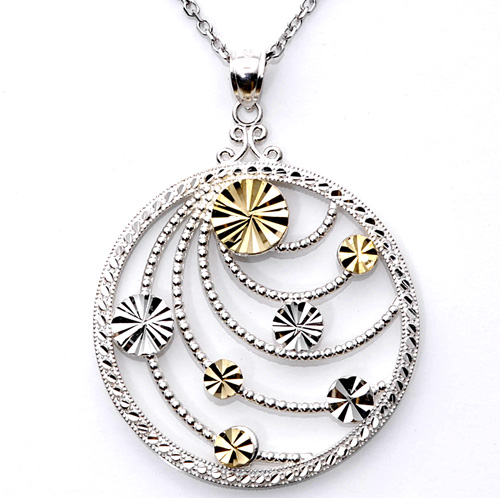 '14k Yellow Gold and Sterling Silver Medallion Necklace'