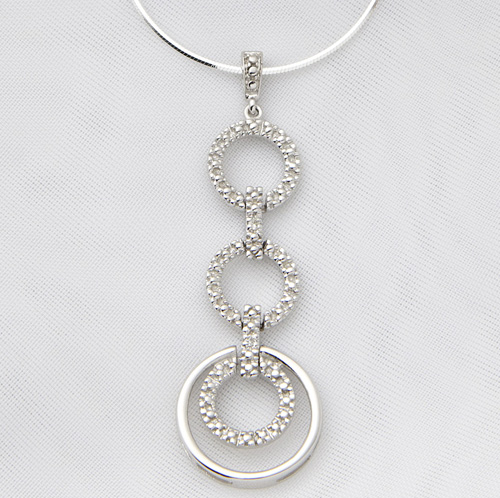 'Sterling Silver and Diamond Geometric Necklace'