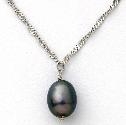'Sterling Silver Black Pearl Necklace'
