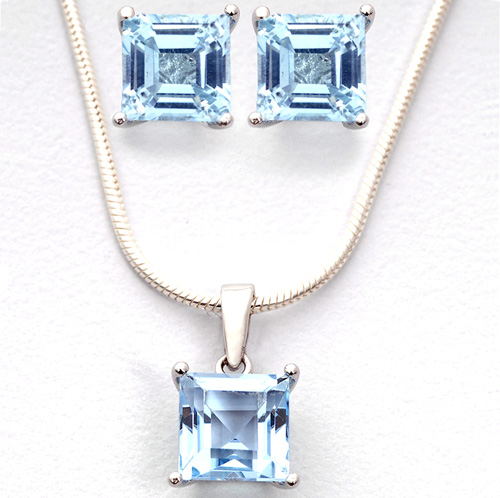 'Square Blue Topaz Earrings and Necklace Set'