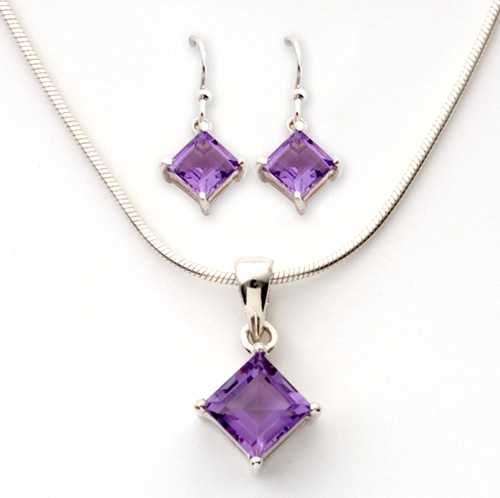 Purple Square Amethyst Earrings