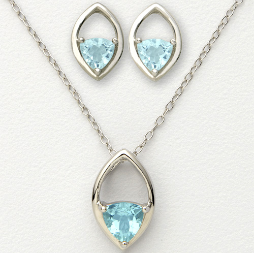 'Blue Trillion Earrings and Necklace'