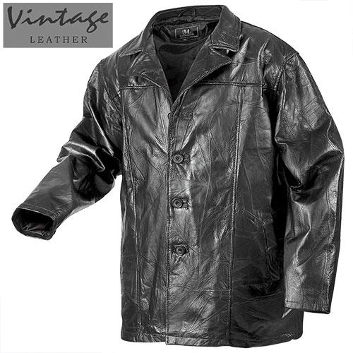 'Black Patchwork Leather Hipster Coat'