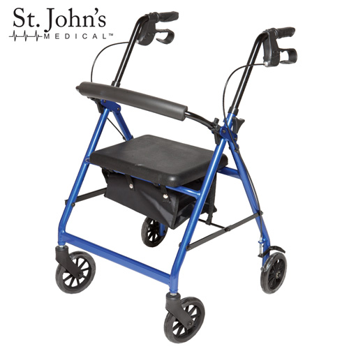 'St John's Medical Premium Rolling Walker - Blue'