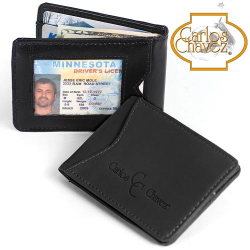 'Carlos Chavez Black Leather Clip Wallet'