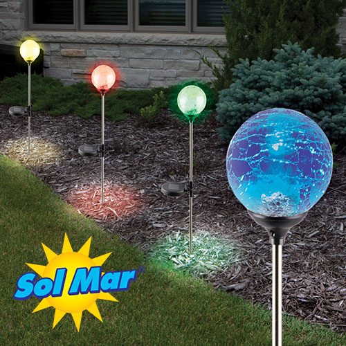 '4PK Crackled Solar Color Lights'